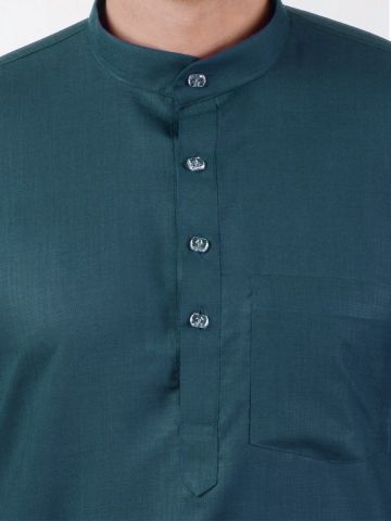 Teal Green Tussar Cotton Kurta (Half Sleeve)