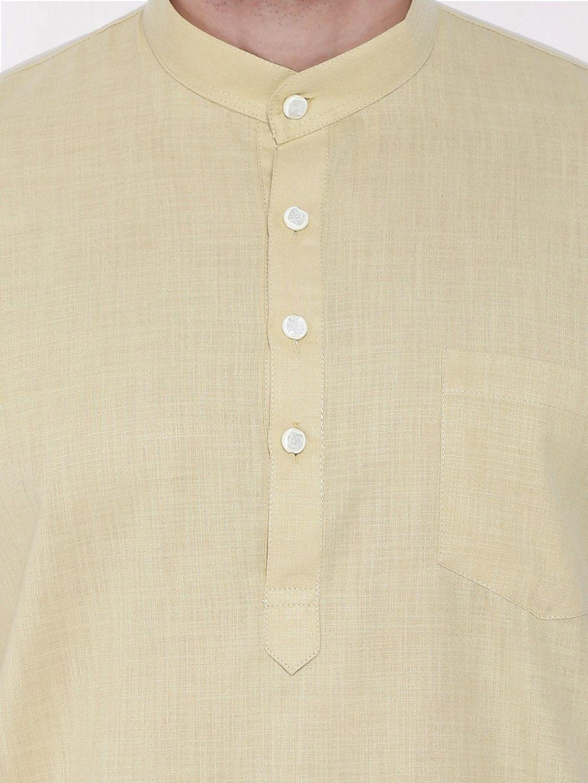 Fawn Tussar Cotton Kurta (Half Sleeve)