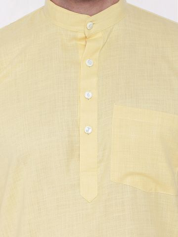 Light Yellow Tussar Cotton Kurta (Half Sleeve)