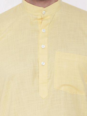 Light Yellow Tussar Cotton Kurta (Half Sleeve)