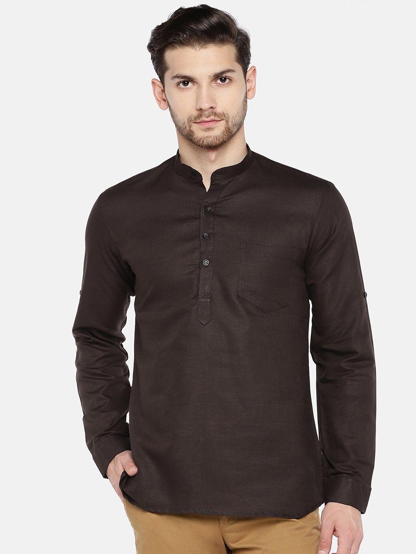 Dark Brown Roll Up Sleeve Linen Short Kurta