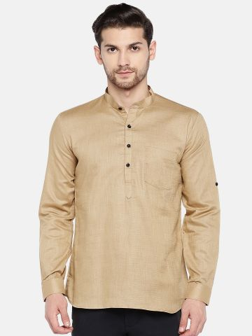 Tan Roll Up Sleeve Cotton Short Kurta