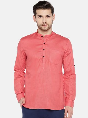 Light Orange Roll Up Sleeve Cotton Short Kurta