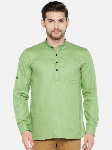 Light Green Roll Up Sleeve Cotton Short Kurta