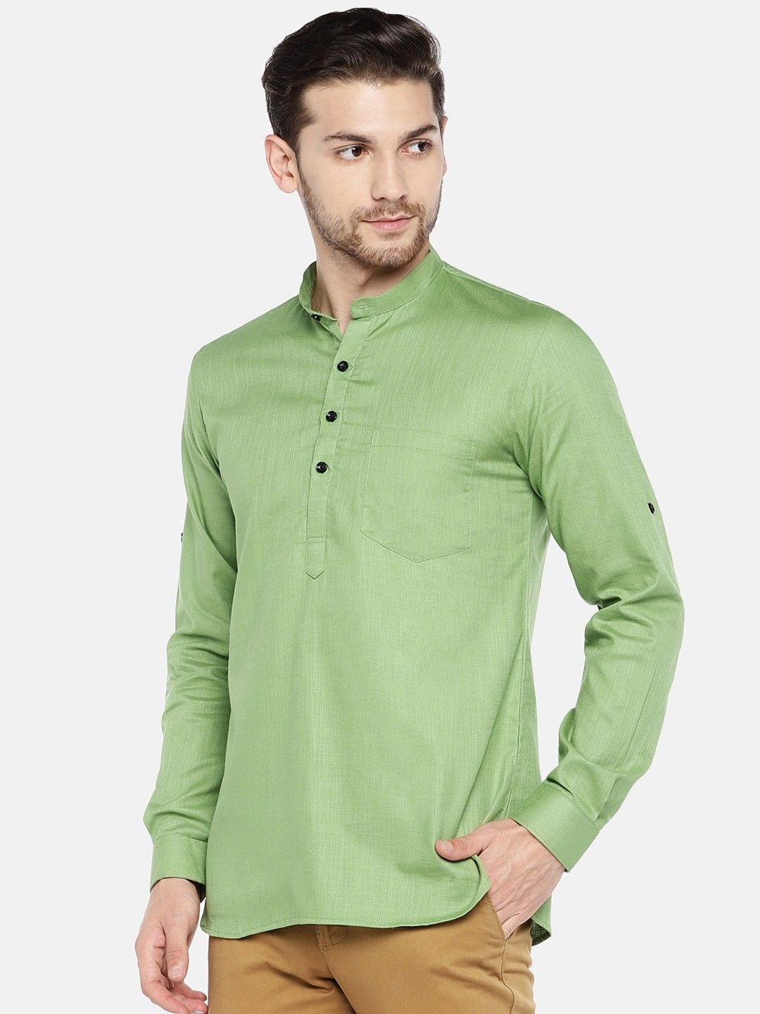 Light Green Roll Up Sleeve Cotton Short Kurta