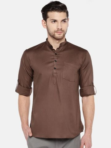 Brown Roll Up Sleeve Cotton Short Kurta