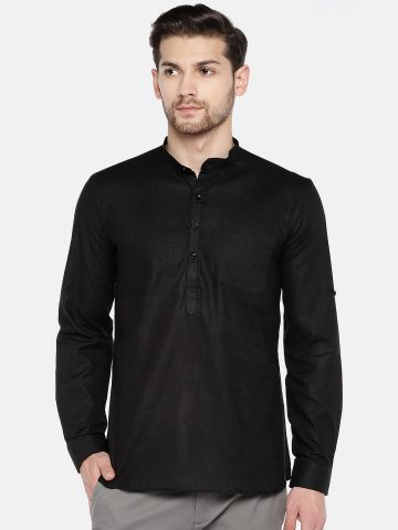 Black Roll Up Sleeve Cotton Short Kurta
