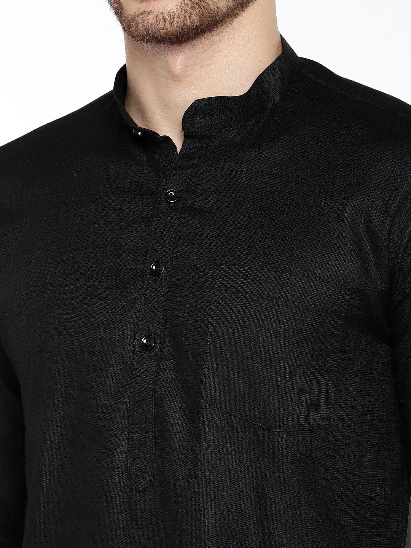 Black Roll Up Sleeve Cotton Short Kurta