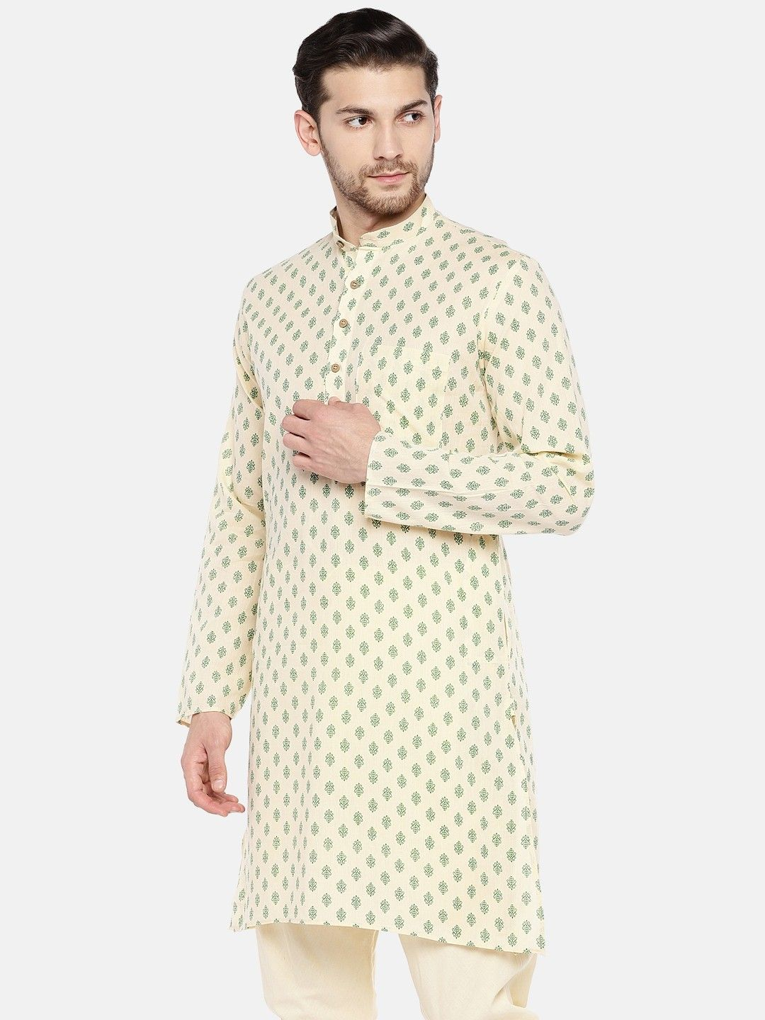 Cream Printed Cotton Kurta