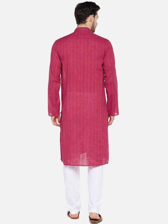 Pink Slub Cotton Kurta