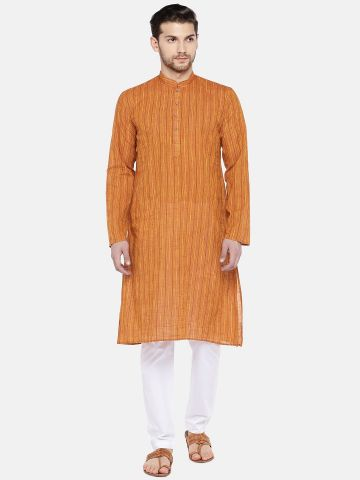 Orange Slub Cotton Kurta