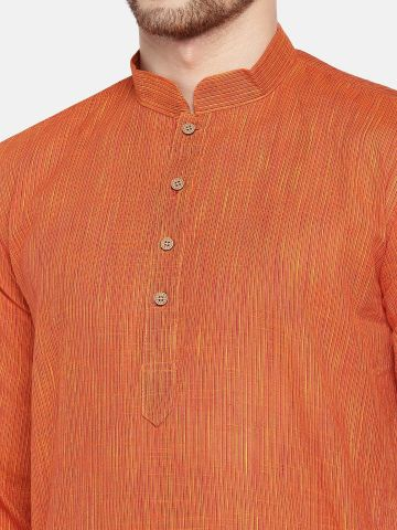 Orange Dobby Cotton Kurta