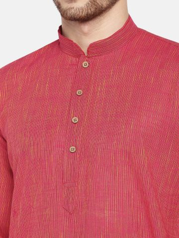 Pink Dobby Cotton Kurta