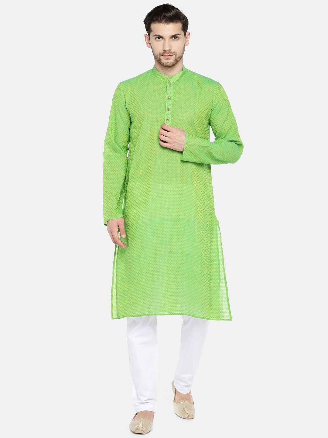 Green Self Design Cotton Kurta