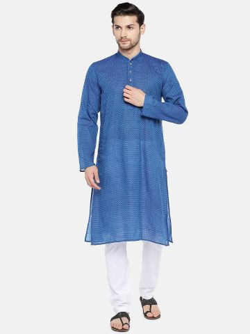 Blue Self Design Cotton Kurta