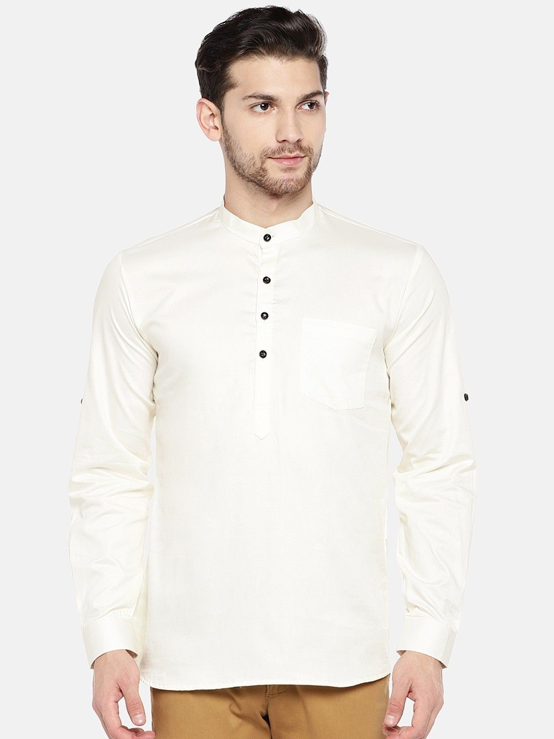 Off White Roll Up Sleeve Cotton Short Kurta