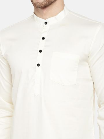 Off White Roll Up Sleeve Cotton Short Kurta