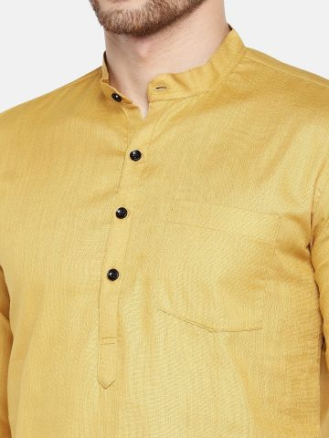 Light Brown Roll Up Sleeve Cotton Short Short Kurta