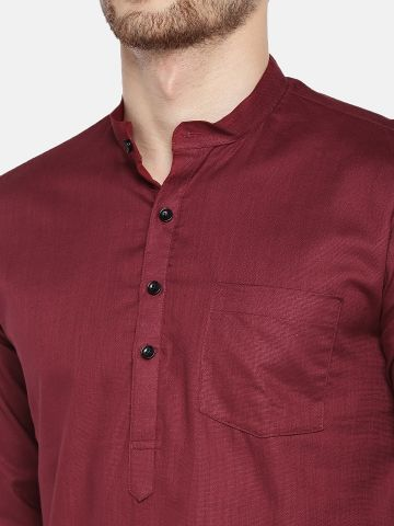 Maroon Roll Up Sleeve Cotton Short Kurta