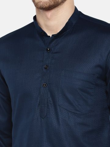 Navy Blue Roll Up Sleeve Cotton Short Short Kurta