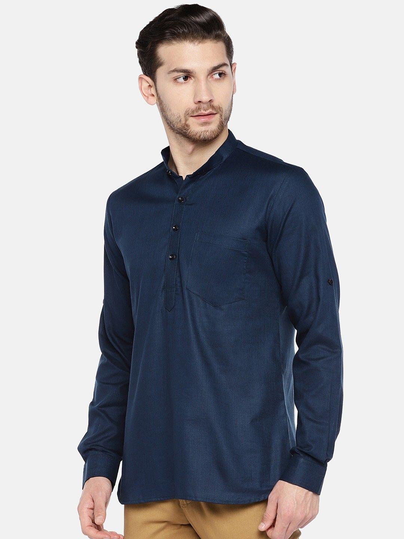 Navy Blue Roll Up Sleeve Cotton Short Short Kurta