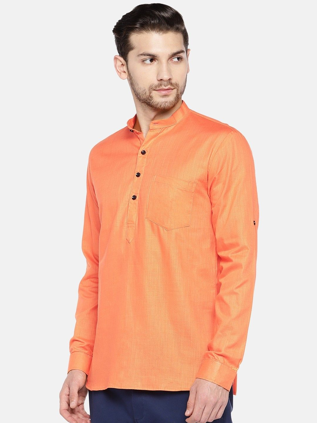 Orange Roll Up Sleeve Cotton Short Short Kurta