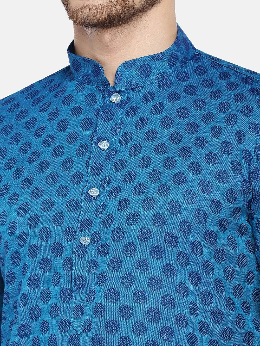 Blue Handloom Dobby Cotton Kurta