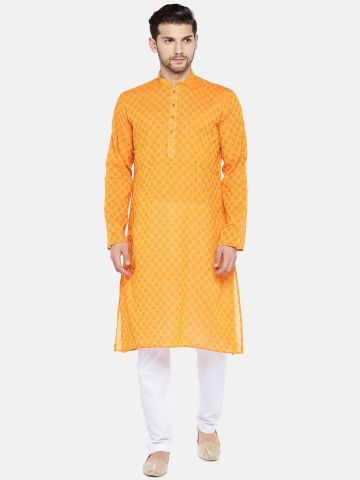 Yellow Handloom Dobby Cotton Kurta