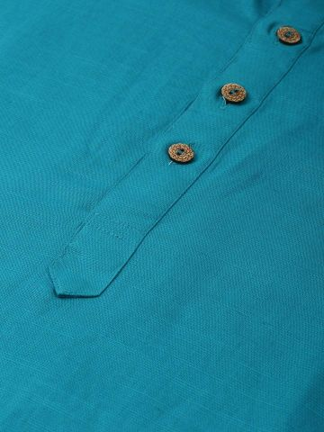 Teal Blue Linen Blend Long Kurta
