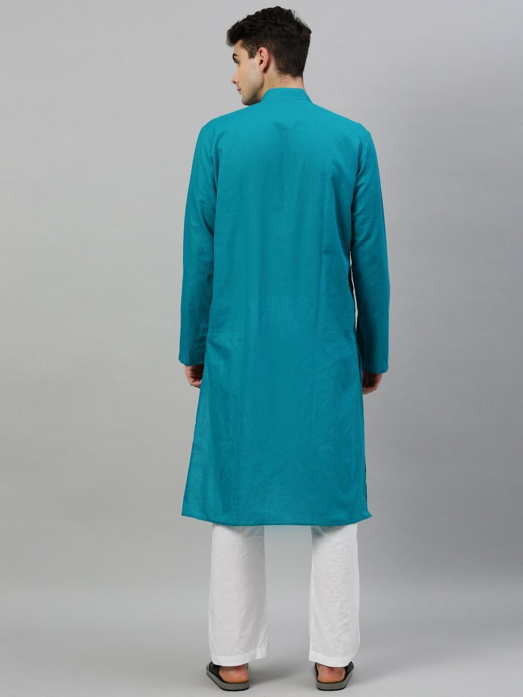 Teal Blue Linen Blend Long Kurta