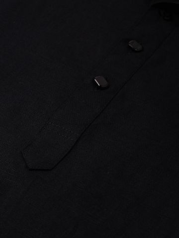 Black Linen Blend Long Kurta