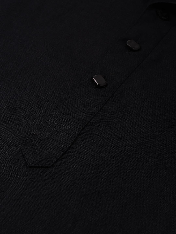 Black Linen Blend Long Kurta