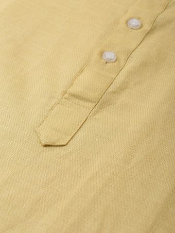 Cream Linen Blend Long Kurta