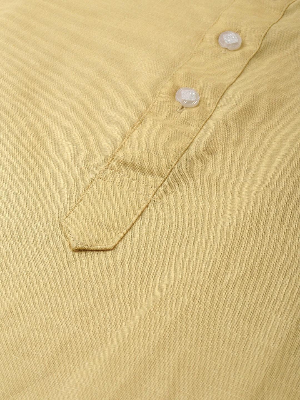 Cream Linen Blend Long Kurta
