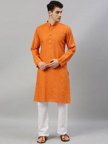 Orange Linen Blend Long Kurta