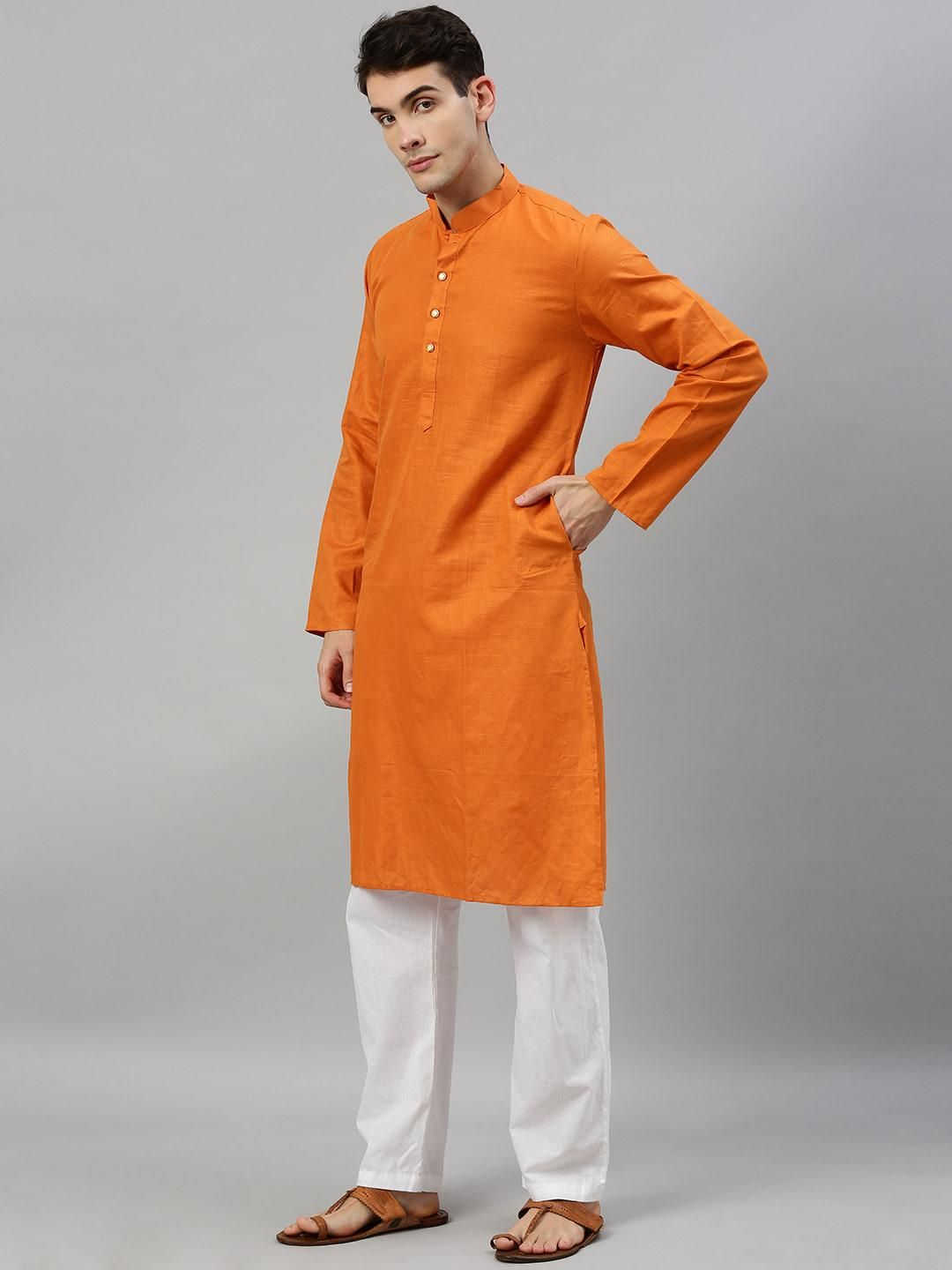 Orange Linen Blend Long Kurta