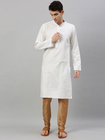 White Linen Blend Long Kurta