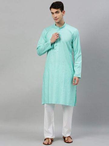 Sky Blue Textured Premium Cotton Kurta