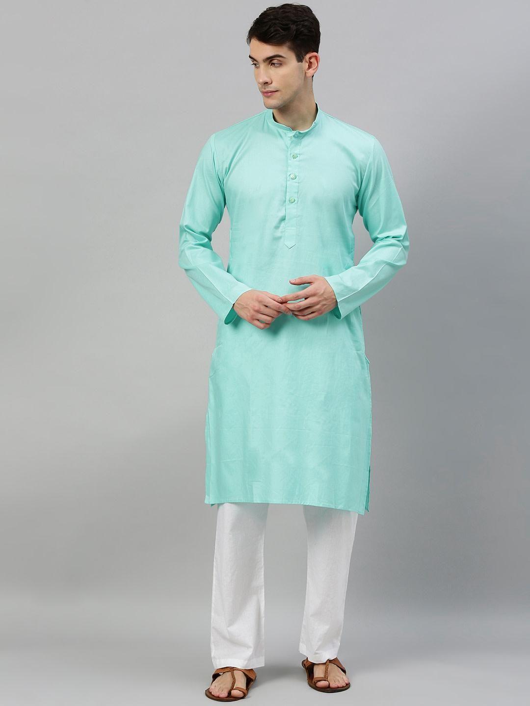 Sky Blue Textured Premium Cotton Kurta