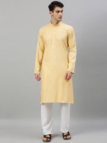 Cream Textured Premium Cotton Kurta