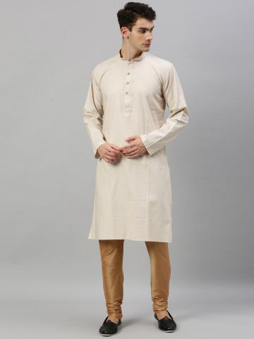 Fawn Textured Premium Cotton Kurta