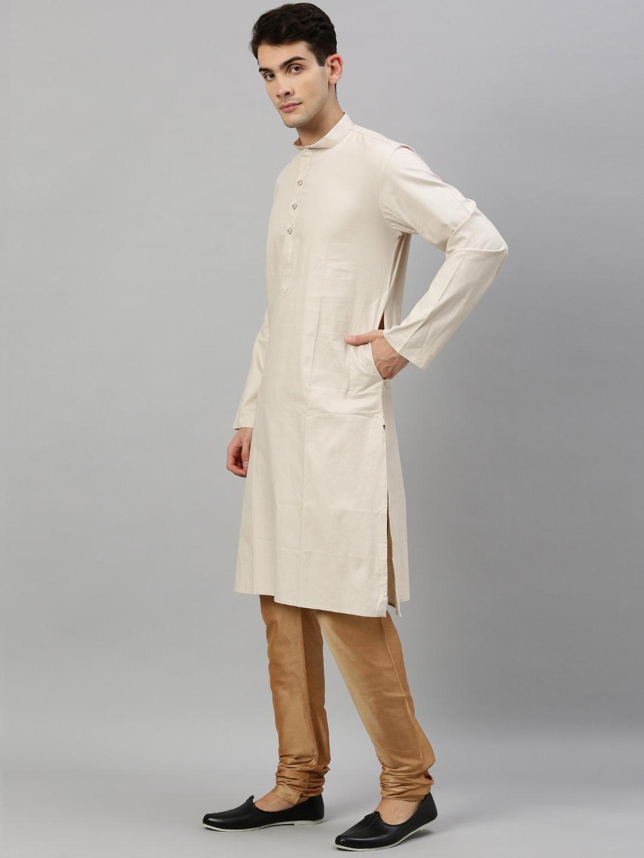 Fawn Textured Premium Cotton Kurta