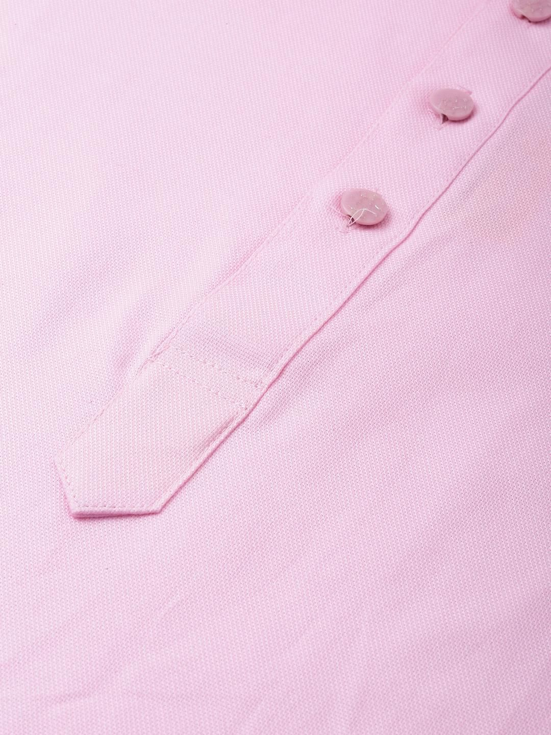 Pink Textured Premium Cotton Kurta