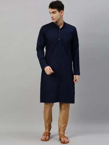Navy Blue Textured Premium Cotton Kurta
