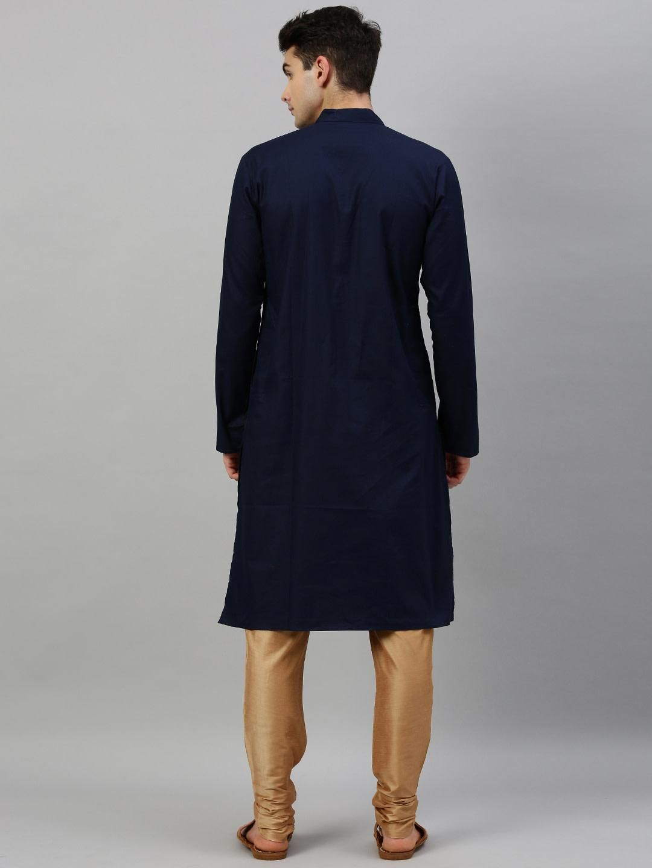 Navy Blue Textured Premium Cotton Kurta