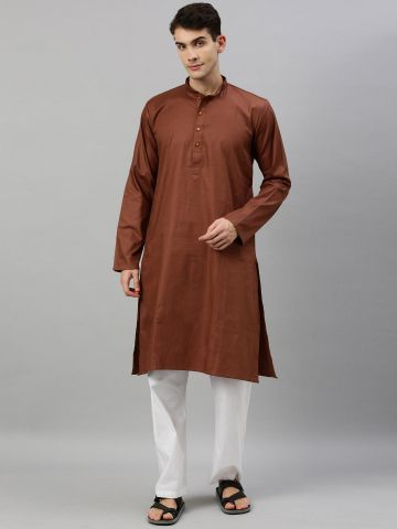 Brown Textured Premium Cotton Kurta