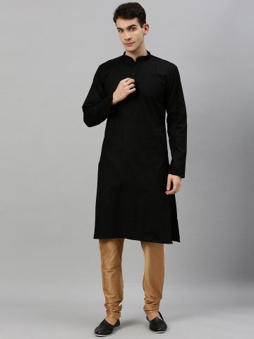 Black Textured Premium Cotton Kurta