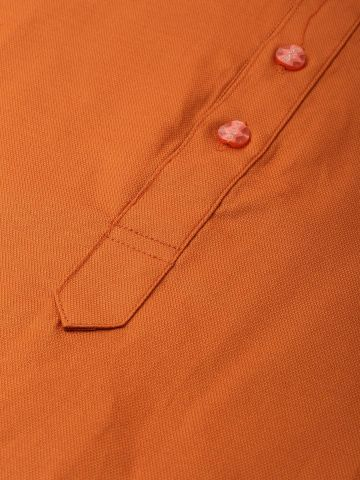 Rust Orange Textured Premium Cotton Kurta