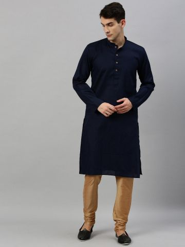 Navy Blue Woven Design Premium Cotton Kurta