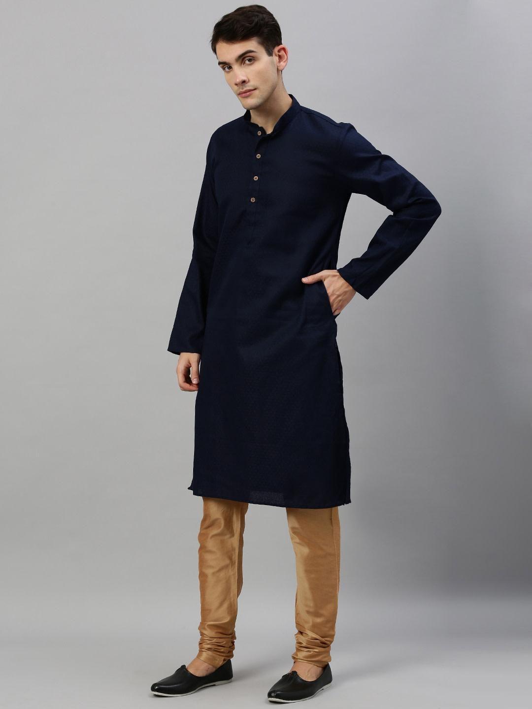 Navy Blue Woven Design Premium Cotton Kurta